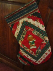 This stocking was quilted by Larry's cousin who is no longer with us. I love to have some of these items from loved ones.