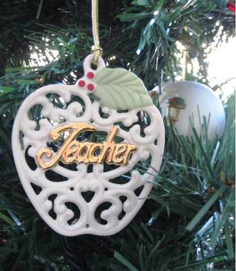 A teacher ornament that has survived a number of Christmases.