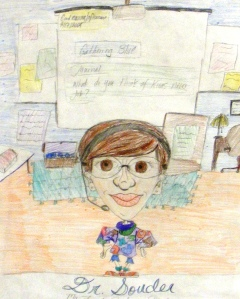 A student's characiture of me in my classroom, even my headset!