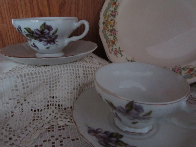 Matching cups and saucers