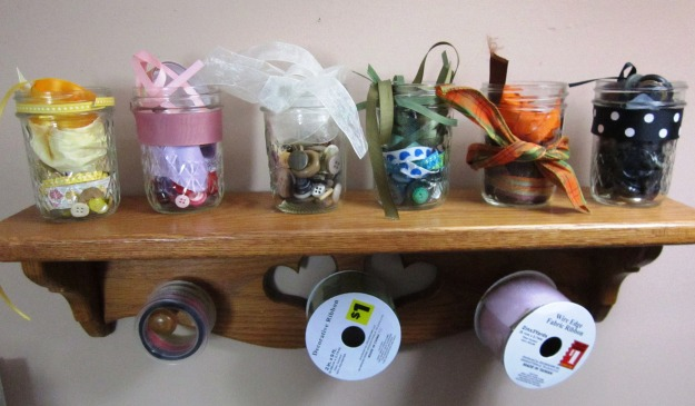 Someday I'll paint them both white and can put all my button/ribbon jars out.