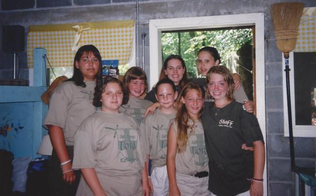 Jennifer on back row with her campers and other counselors