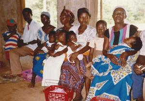 Mothers with their babies waiting to see a nurse