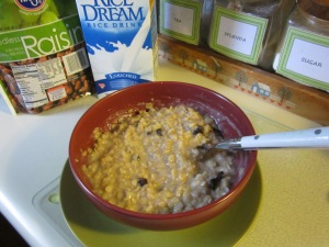 This is 3/4 cup of old-fashioned oats cooked with 1 cup of milk.