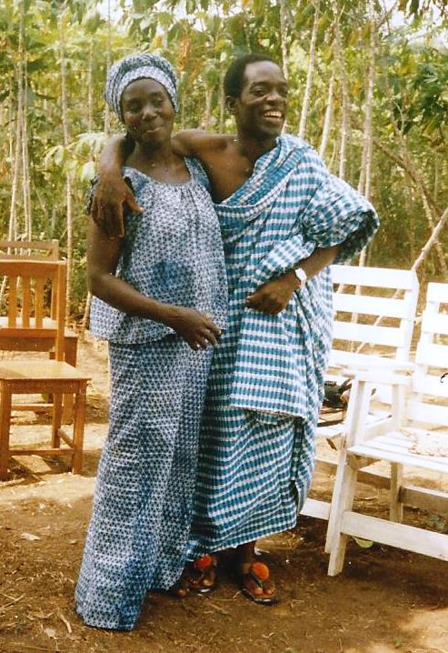 Gabriel and his wife, Afi, dressed in traditional clothes.