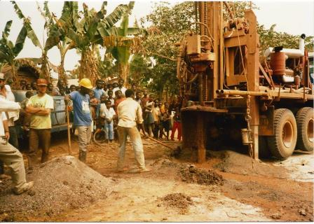 Water drilling provides a source of clean water for a whole village, thus, everyone comes out to watch.